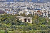 Hephaestus temple and Athens cityscape Greece