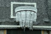 image of freezing temperatures  - Freezing Basketball Hoop in the deep ice - JPG