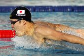 BARCELONA - JUNE, 11: Japanese swimmer Yuki Kobori swimming Butterfly during the Mare Nostrum meetin