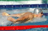 BARCELONA - JUNE, 11: Russian swimmer Nikolay Skvortsov swimming Butterfly during the Mare Nostrum m