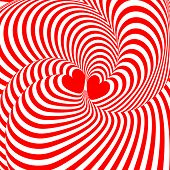 Design Hearts Twisting Movement Illusion Background. Abstract Strip Torsion Backdrop
