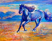 picture of chestnut horse  - Original abstract oil painting of a beautiful blue horse running - JPG