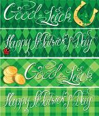 Set Of 4 Horizontal Banners With Calligraphic Words Happy St. Patrick`s Day And Good Luck. Shamrock,