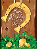 picture of ladybug  - Holiday card with calligraphic words Happy St - JPG