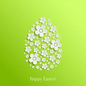 stock photo of easter decoration  - Abstract Vector Easter Egg of White Flowers on Green Background - JPG