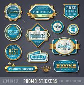 blue and golden promo stickers and quality seals
