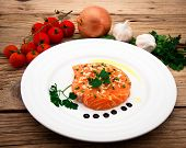 Marinated Salmon Fillet On Plate