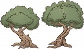 Gnarly cartoon trees. Vector