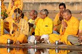 Senior Men Perform Puja At Holy Pushkar lake,India