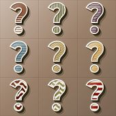 Set Of Retro Style Question Mark, Eps 10 Vector, Editable For Any Background, No Clipping Masks