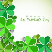 Happy St. Patrick's Day celebration poster, banner or flyer with clover leaves on abstract background.