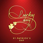 Happy St. Patrick's Day celebration poster, banner or flyer with stylish text on maroon background.