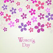 Happy Womens Day greeting card or poster design with beautiful floral decorated abstract background.