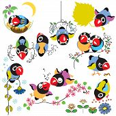 Set With Cartoon Birds