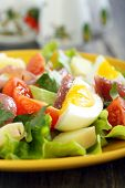 Salad With Anchovies, Tomatoes And Eggs.