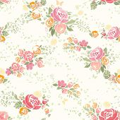 Seamless summer background with flowers in vintage style.