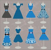 collection of beautiful  blue dresses