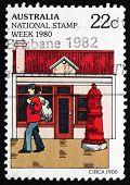 Postage Stamp Australia 1980 Mailman And Mailbox, C. 1900