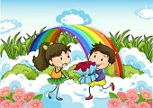 Illustration of a couple dating near the rainbow