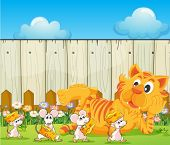 pic of rats  - Illustration of a tiger and a group of rats at the backyard - JPG