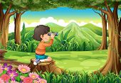 Illustration of a boy with a telescope sitting above the stump at the forest