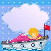 Illustration of a girl sleeping above the boat with an empty callout