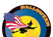 Постер, плакат: Хэллоуин ведьмы с флагом США