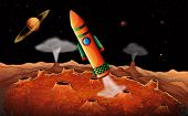 Illustration of an orange rocket in the outerspace
