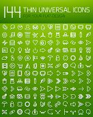 Large collection of 144 thin universal web icon set for your flat design. For business background |