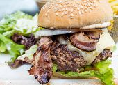 Cheese burger - American cheese burger with fresh salad