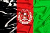 Afghanistan Flag On A Silk Drape Waving