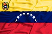 Venezuela Flag On A Silk Drape Waving