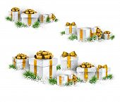Christmas background with heaps of fir branches and realistic gift boxes. Vector illustration.