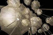 Thessaloniki Umbrellas Sculpture At Night Close Up, Greece