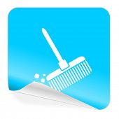 broom blue sticker icon