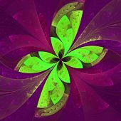 Beautiful Fractal Flower In Purple And Green. Computer Generated Graphics.