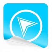 navigation blue sticker icon