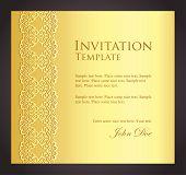 Luxury Golden Invitation With Imitation Of Lace