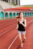 Chinese Woman Jogging, Motion Blur