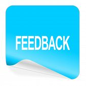 feedback blue sticker icon