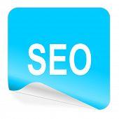 seo blue sticker icon