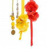 Colorful artificial flower made of silk and Fashion necklace