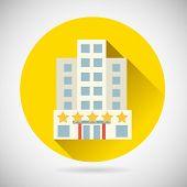 World Trip Symbol Best Star Hotel Inn Rest Icon on Stylish Background Modern Flat Design Vector Illu