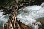 Wooden Bridge Over Mountain The River.