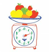 Healthy eating - scales with apples