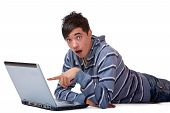 Young Male Student Found Something Surprising On Internet Computer