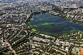 City of Hamburg with Alster lake and port, aerial view
