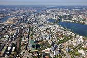 City of Hamburg with Alster lake and harbor on the Elbe river