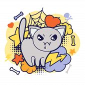 image of kawaii  - Halloween kawaii print or card with cute doodle cat - JPG