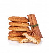 Cookies with spices. Isolated on white background